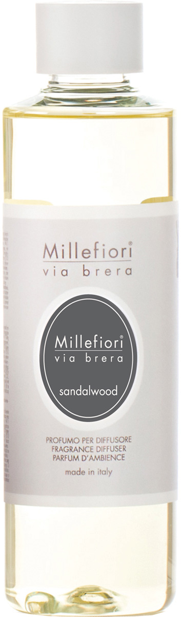 Ароматизатор Millefiori Milano Via Brera, сандаловое дерево, сменный блок, 250 мл ароматизатор millefiori milano via brera сандаловое дерево сменный блок 250 мл