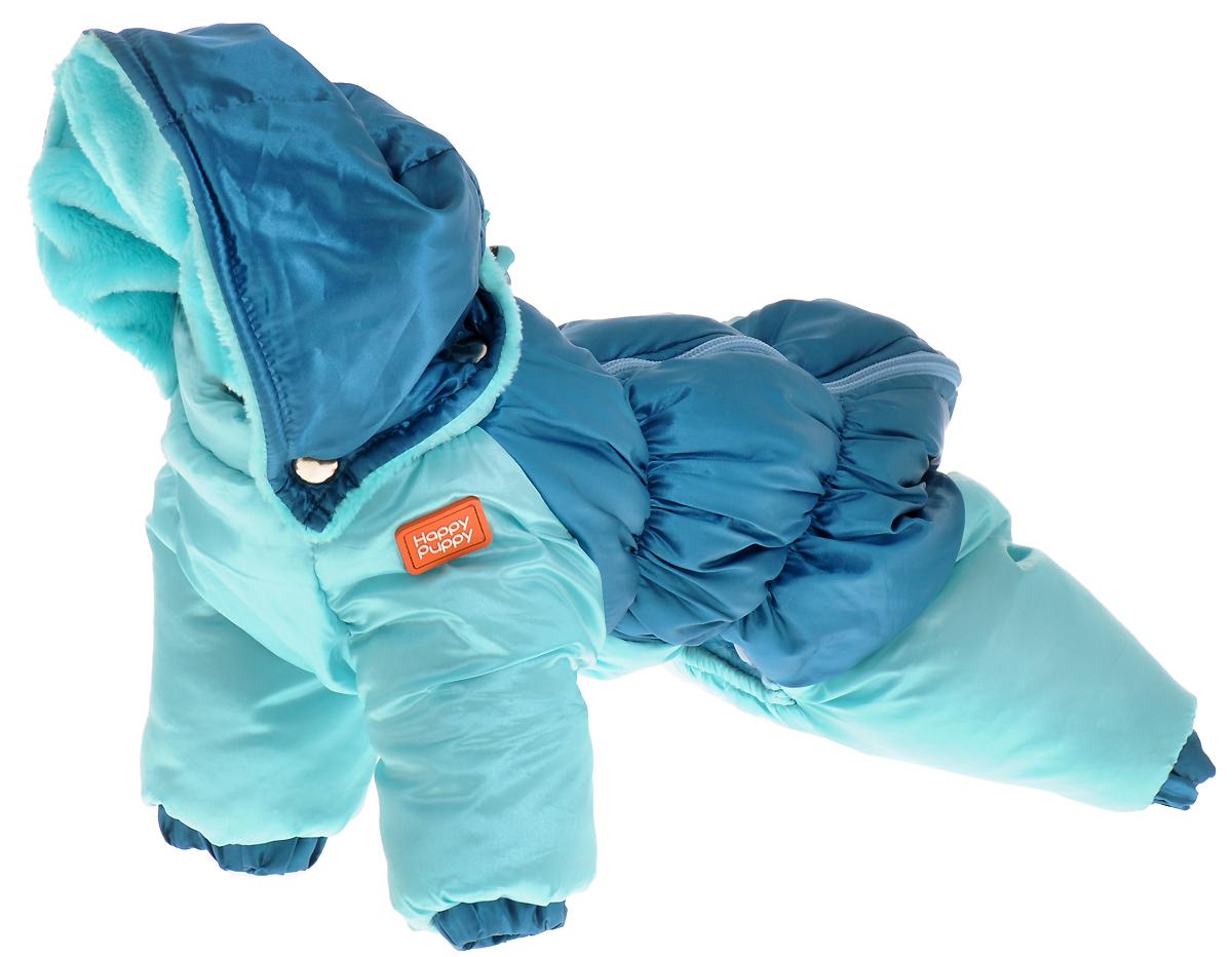 Пуховик для собак Happy Puppy, для мальчика, цвет: синий, голубой. Размер 2 (M)HP-160054-2Мягкий и комфортный пуховик для собак Happy Puppy отлично подойдет для прогулок в зимнее время года. Пуховик изготовлен из водонепроницаемого полиэстера, защищающего от ветра и снега, с утеплителем из синтепона, который сохранит тепло даже в сильные морозы, а в качестве подкладки используется искусственный мех, обеспечивающий отличный воздухообмен. Пуховик с капюшоном застегивается на молнию на спинке, благодаря чему его легко надевать и снимать. Капюшон выполнен на металлических кнопках, и также дополнен подкладкой из искусственного меха. Изделие оснащено внутренними резинками, которые мягко обхватывают лапки и тело вашего питомца, не позволяя просачиваться холодному воздуху.Благодаря такому пуховику простуда не грозит вашему питомцу, и он сможет испытать несравнимое удовольствие от снежных игр и забав.Длина по спинке: 25 см.Обхват груди: 39 см.