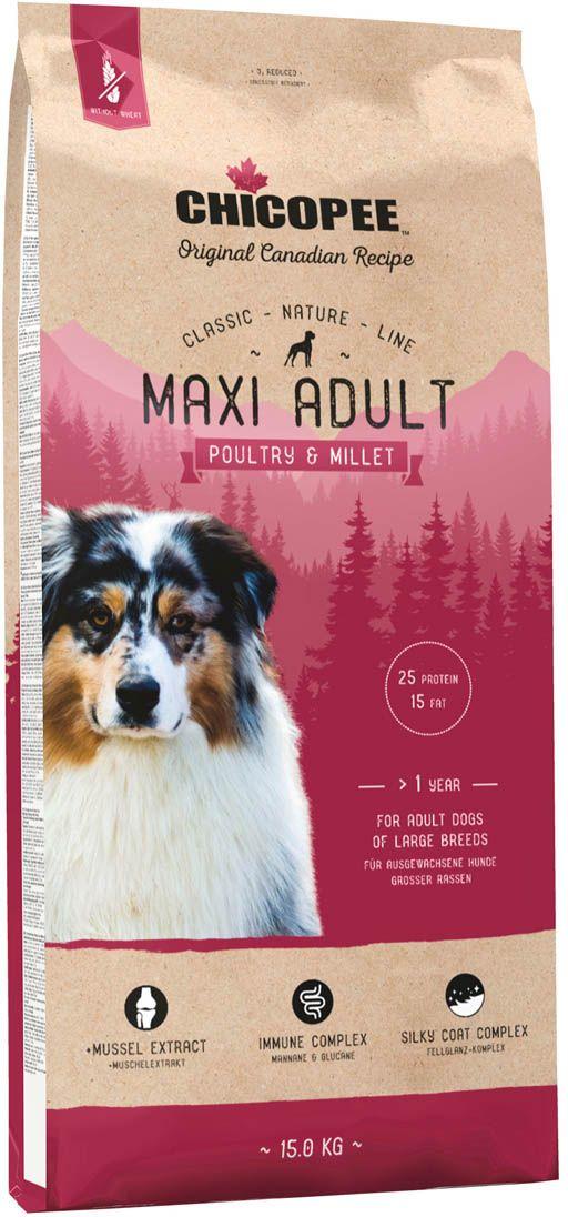 Корм сухой Chicopee  CNL Maxi Adult Poultry & Millet , для взрослых собак крупных пород, с птицей и просом, 15 кг - Корма и лакомства