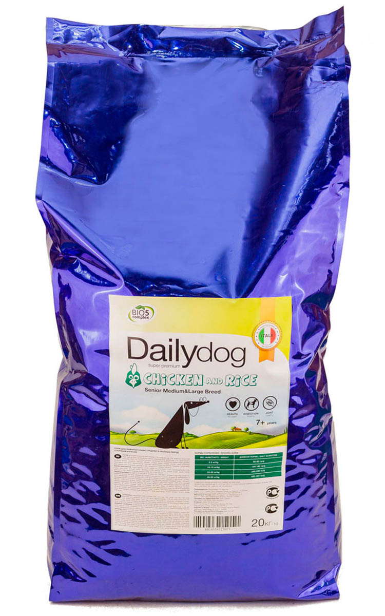 Корм сухой Dailydog Senior Medium Large Breed Chicken Rice, для пожилых собак средних и крупных пород, с курицей и рисом, 20 кг cinderella princess castle city set 697pcs model building block kid diy toy funny birthday gift compatible with lepine xd17