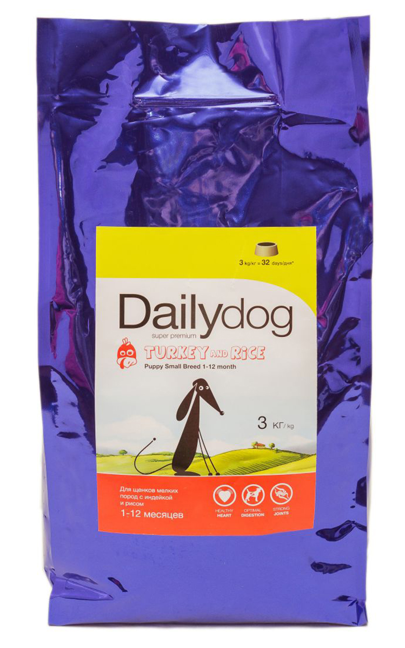 Корм сухой Dailydog  Puppy Small Breed Turkey & Rice , для щенков мелких и миниатюрных пород, с индейкой и рисом, 3 кг - Корма и лакомства