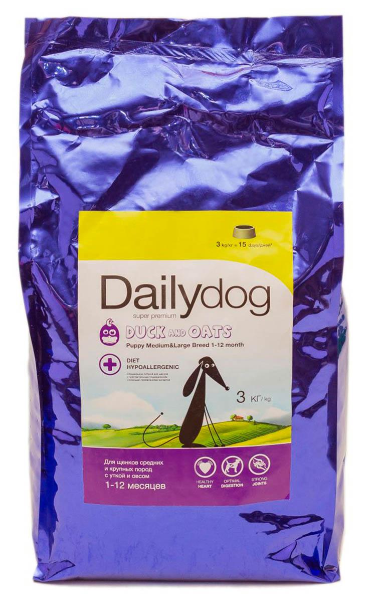 Корм сухой Dailydog Puppy Medium&Large Breed Duck & Oats, для щенков средних и крупных пород, с уткой и овсом, 3 кг314ДД*3Сухой полнорационный корм для щенков средних и крупных пород с уткой и овсом.