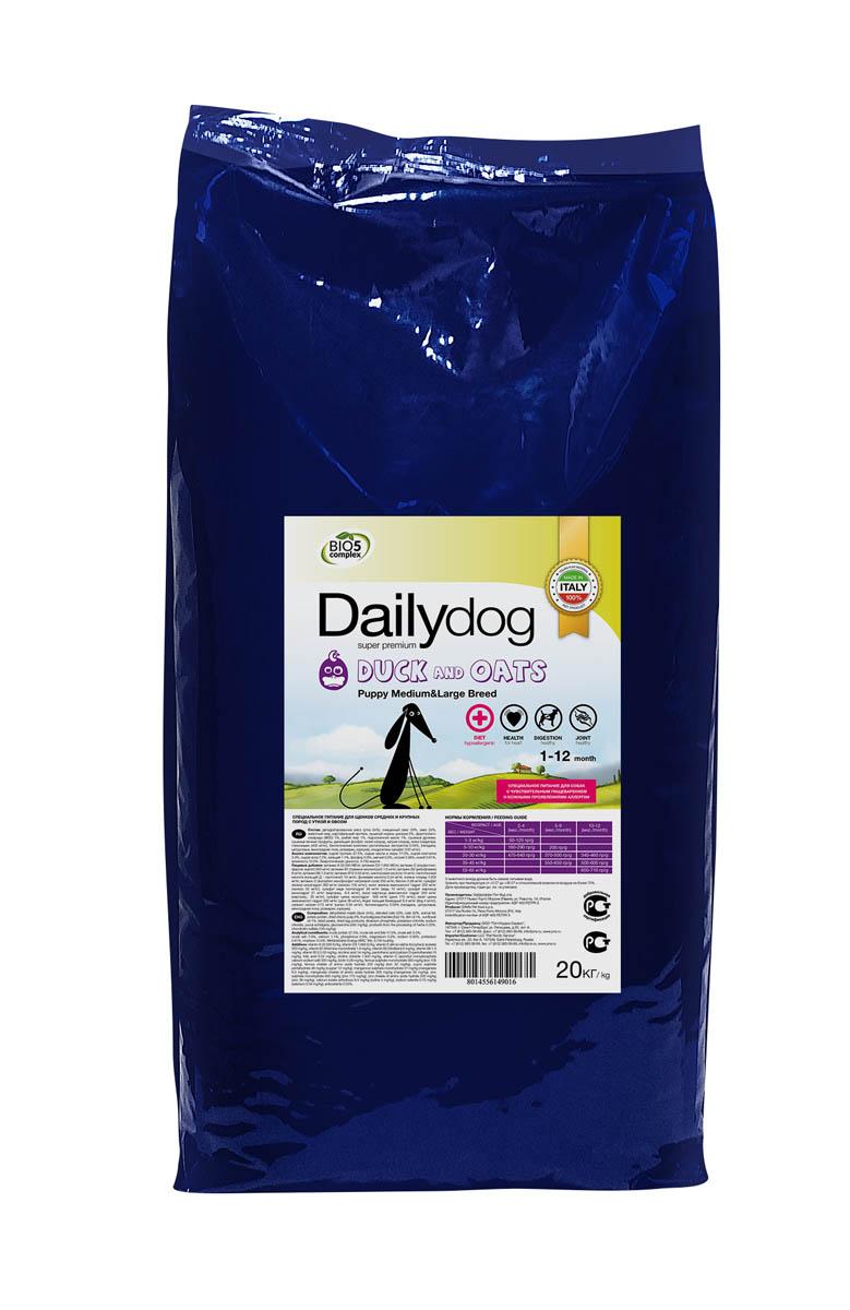 Корм сухой Dailydog Puppy Medium Large & Breed Duck & Oats, для щенков средних и крупных пород, с уткой и овсом, 20 кг658ДД*Dailydog Puppy Medium & Large Breed Duck & Oats - тщательно сбалансированный корм супер премиум класса для щенков средних и крупных пород с момента прикорма до 1 года. Корм соответствует всем потребностям домашнего питомца, учитывает особенности растущего организма, физическую активность и состояние здоровья щенка.Питанию щенков средних и крупных пород следует уделять пристальное внимание. Как правило, эти малыши очень подвижны, их активный рост может сопровождаться проблемами с суставами и связками, поэтому им нужен особый корм, в котором правильно подобранное соотношение протеинов, жиров и углеводов. Так же в рационе щенков крупных и средних пород обязательно должны присутствовать полноценные белки, состоящие из аминокислот заменимых и незаменимых. Все это непременно учтено в собачьем меню Dailydog Puppy Medium & Large Breed Duck & Oats. Утка - это дичь, собака - это охотник. Поймав утку за хвост, ваш питомец получит деликатесный, диетический обед, взрыв вкуса и максимум здоровья!Это монобелковый корм - изготавливается только из одного источника животного белка - утиного мяса, незаменимого источника высококачественного и легкоусвояемого белка, очень богатого разнообразными витаминами и минералами, а именно витаминами А, Е, К, витаминами группы В.В утином жире содержится большое количество Омега-3 жирных ненасыщенных кислот. Это диетический, легкоусвояемый продукт, дающий вашему хвостатому малышу максимум энергии и здоровья.Входящий в состав овес богат витаминами и аминокислотами, он улучшает состав кишечной микрофлоры, способствует процессу пищеварения.Корм легко усваивается, предотвращая возникновение аллергии, идеально подходит для собак с чувствительным пищеварением и склонных к аллергии.Состав: дегидратированное мясо (утка - 24 %), очищенный овес - 23 %, овес - 22 %, животный жир, картофельный протеин, сушеный корень цикория - 2 %, фрукто