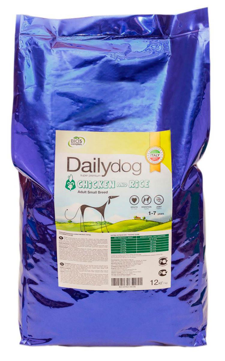 Корм сухой Dailydog Adult Small Breed Chicken & Rice, для взрослых собак мелких и миниатюрных пород, с курицей и рисом, 12 кг446ДД*12Dailydog Adult Small Breed Chicken & Rice – тщательно сбалансированный корм супер премиум класса для собак мелких пород возрастом от 1 года до 7 лет. Корм соответствует всем потребностям домашнего питомца, учитывает особенности организма, связанные с возрастом, физической активностью и состоянием здоровья собаки.Собаки мелких пород обладают повышенным обменом веществ (по сравнению с собаками крупных и средних пород), поэтому их питание отличается высокой метаболической энергией. В кормах должны использоваться только хорошо усвояемые высококачественные ингредиенты, среди которых не должно быть «балластных наполнителей», дающих объем корма, но не приносящих пользы собаки. Все это непременно учтено в собачьем меню Dailydog Adult Small Breed Chicken & Rice.Это монобелковый корм – изготавливается только из одного источника животного белка – свежайшего отборного мяса курицы, без добавления каких либо субпродуктов. Именно это мясо служит отменным источником полноценного протеина, который участвует в формировании и поддержании мышечной массы взрослой собаки, помогая Вашему питомцу сохранять хорошую физическую форму.Входящий в состав рис содержит большое количество кальция, цинка, железа и других микроэлементов, укрепляющих кровеносную и нервную системы. Рис – это диетический продукт, полезный как при ежедневном рационе, так и при заболеваниях почек, сердца и сосудов.Корм легко усваивается, предотвращая возникновение аллергии, идеально подходит для собак с чувствительным пищеварением.Состав: дегидратированное мясо (курица 20%), кукуруза, рис 11%, животный жир, рыбная мука, сушеный свеколовичный жом, сушеные яичные продукты, фруктоолигосахариды (ФОС) 1%, сушеные мякоть цикория 1%, картофельный протеин, рыбий жир 0,7%, подсолнечное масло 0,5%, пивные дрожжи, монокальций фосфат, калий хлорид, хлорид натрия, юкка Шидигера, глюкозамин (400 мг/кг), п