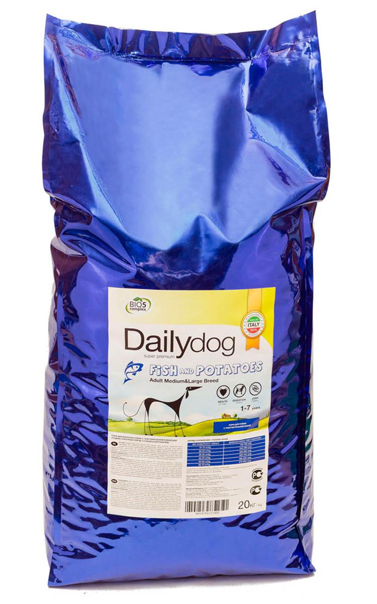 Корм сухой Dailydog Adult Medium Large Breed, для собак средних и крупных пород, с рыбой и картофелем, 20 кг396ДД*Dailydog Adult Medium Large Breed – тщательно сбалансированный корм супер премиум класса для собак средних и крупных пород возрастом от 1 года до 7 лет. Корм соответствует всем потребностям домашнего питомца, учитывает особенности организма, связанные с возрастом, физической активностью и состоянием здоровья собаки.Рыба – это кладезь полезных витаминов и минералов, необходимых для поддержания иммунитета и сохранения природной красоты собаки. Не отказывайте своему питомцу в особом рыбном меню Dailydog Adult Medium Large Breed.Это монобелковый корм – изготавливается только из одного источника животного белка – свежайшей рыбы, без добавления каких либо субпродуктов.Отборный лосось и наивкуснейшая жирная сельдь, входящие в состав корма, - это наилучшие источники свежих, незаменимых жирных кислот (включая декозагексаеновую и эйкозапентаеновую кислоты), которые поддерживают иммунную систему и великолепное состояние кожи и шерсти вашего любимца.Входящий в состав картофель подвергается специальной тщательной обработке, делающей его полностью пригодным для организма животного. Картофель - это альтернативный источник углеводов для собак-аллергиков, которые страдают непереносимостью к глютену злаковых растений.Корм легко усваивается, предотвращая возникновение аллергии, идеально подходит для собак с чувствительным пищеварением и склонных к аллергии.Состав: рыбная мука – 22 % (лосось – 12 %, сельдь – 10 %), кукуруза, кукурузная мука, картофель – 9 %, животный жир, картофельный протеин, сушеный жом свеклы, кукурузный глютен, сушеный корень цикория – 1 %, фруктоолигосахариды (FOS) – 1 %, пивные дрожжи, рыбий жир – 1 %, хлорид калия, хлорид натрия, дикальций фосфат, юкка Шидигера, глюкозамин - 400 мг/кг, биологический комплекс растительных экстрактов - 0,03 % (гвоздика, цитрусовые, виноградная лоза, розмарин, куркума), хондроитин сульфат - 100 мг/кг.
