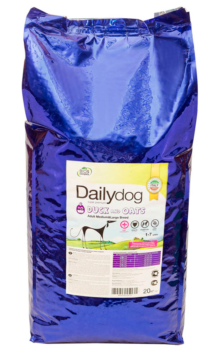 Корм сухой Dailydog  Adult Medium Large Breed , для собак средних и крупных пород, с уткой и овсом, 20 кг - Корма и лакомства