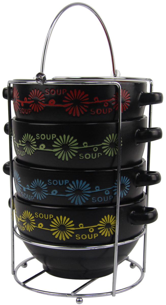 Набор бульониц Bohmann, на подставке, цвет: черный, 650 мл, 5 предметов. 144ВНС144ВНСНабор керамических бульонниц с ручками на хромированной подставке. Можно мыть в посудомоечной машине, использовать в микроволновой печи, ставить в холодильник.