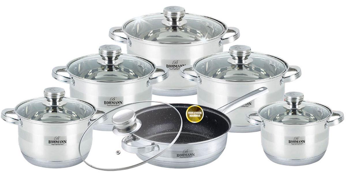 Набор посуды Bohmann, с мраморным покрытием, цвет: стальной, 12 предметов. 1275BHMRB1275BHMRBНабор кухонной посуды изготовлен из высококачественной нержавеющей стали с семислойным усиленным дном. Кастрюли снабжены крышками из термостойкого стекла с паровыпуском, а также удобными стальными ручками. Подходит для всех видов плит (включая индукционную) и для духового шкафа. Мерная шкала, которая быстро помогает хозяйке определить литраж содержимого кастрюли. Рельефная внутренняя поверхность дна сковороды с мраморным покрытием позволит жарить продукты без масла или с минимальным его количеством.