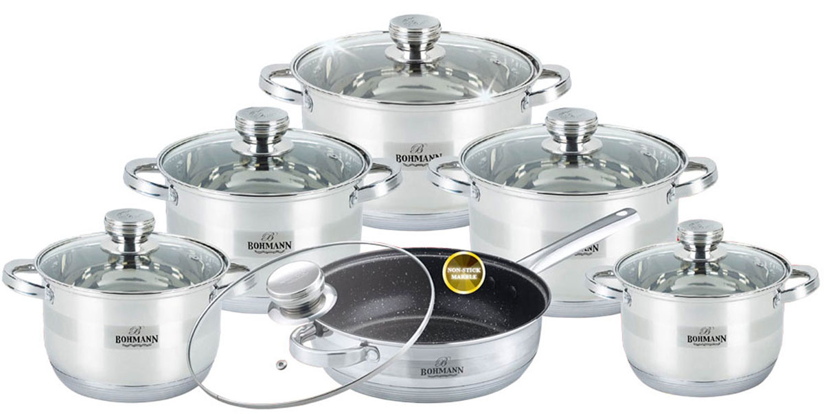 "Набор посуды ""Bohmann"", с мраморным покрытием, цвет: стальной, 12 предметов. 1275BHMRB"