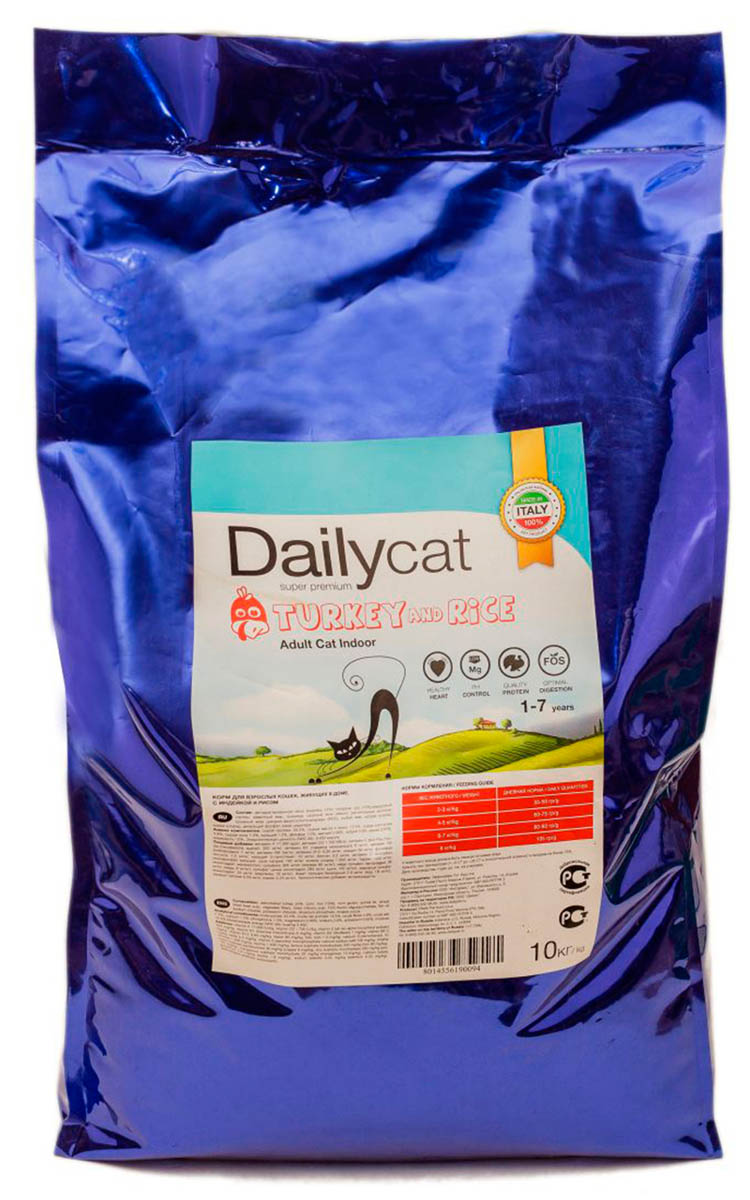 Корм сухой Dailycat Adult Indoor Turkey, для домашних кошек, с индейкой, 10 кг мыльница ridder bob цвет зеленый