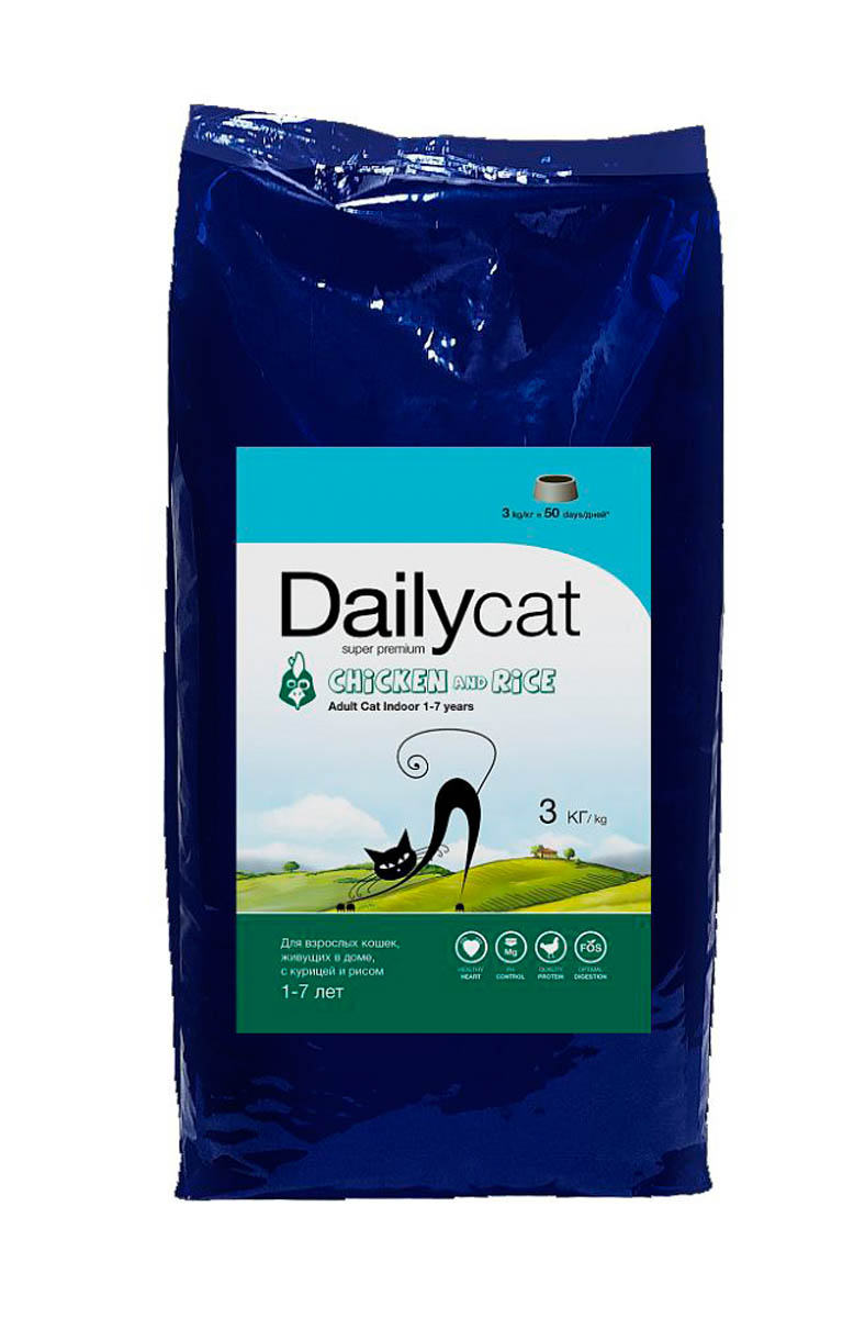 Корм сухой Dailycat Adult Indoor Chicken & Rice, для взрослых кошек, с курицей и рисом, 3 кг508ДК*3Питание кота - дело деликатное, к которому следует иметь особый подход, поэтому подбор пищи может стать настоящей проблемой. При создания корма супер-премиум класса для кошек не выходящих на улицуDailycat Adult Indoor Chicken & Rice были проведены новейшие исследования в области диетологии. В состав корма вошли компоненты помогающие кошкам живущим в помещении, сохранить здоровье и хорошую форму благодаря контролю за содержанием калорий и технологии выведения комков шерсти из ЖКТ. Dailycat Adult Indoor Chicken & Rice- корм супер премиум класса для взрослых кошек. Рекомендован для кошек и котов от 1 года и до 7 лет жизни.Отборное мясо курицы - источник легко усвояемого животного белка, который участвует в формировании и поддержании мышечной массы кошки, помогает поддерживать хорошую физическую форму, обеспечивая необходимой энергией на весь день. Входящий в состав рис - содержит большое количество кальция, цинка, железа и других микроэлементов укрепляющих кровеносную и нервную системы, а витамины РР, Е и почти все группы В, способствуют здоровью и хорошему внешнему виду животного, делая его шёрстку еще более блестящей и шелковистой. Умеренное содержание магния убережёт от распространенных среди кошек заболеваний мочевыводящих путей. Содержание золы 7% - это идеальный показатель хорошей витаминизированности и минералзованности корма. Рыбий жир предотвращает образование бляшек на стенках сосудов, а комплекс витаминов и минералов улучшает состояние сердечно-сосудистой системы в целом, стабилизируя и улучшая работу сердца. ФОС (пребиотики) и цикорий способствуют нормализации пищеварительной системы, стабилизируют обмен веществ и обеспечивают здоровую микрофлору кишечника. Высокий уровень растительных волокон способствует выведению шести из ЖКТ. Сбалансированный комплекс витаминов и минералов позаботится о здоровье костей и зубов, а так же гарантированно обеспечит правильное 