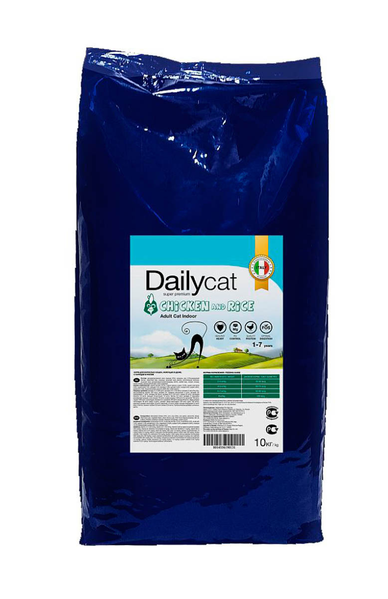 Корм сухой Dailycat Adult Indoor Chicken & Rice, для взрослых кошек, с курицей и рисом, 10 кг пребиотический напиток viyo reinforces cat adult для взрослых кошек 7 х 30 мл