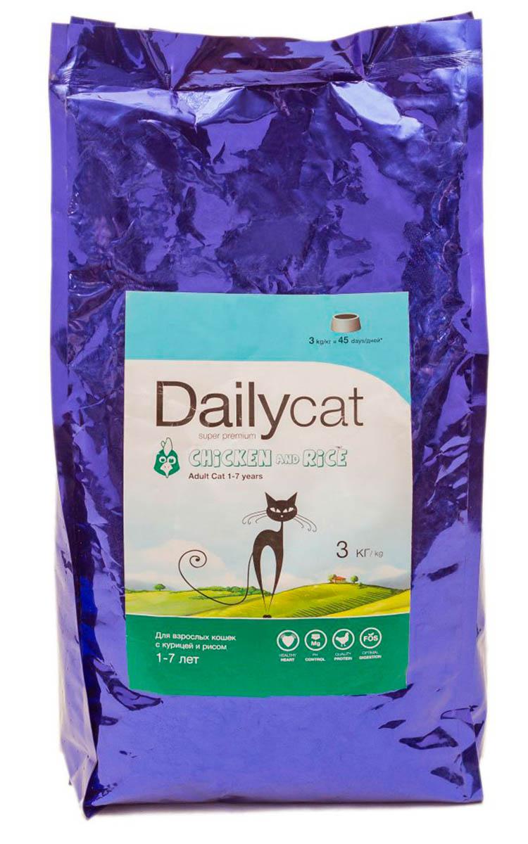 Корм сухой Dailycat Adult Chicken & Rice, для взрослых кошек, с курицей и рисом, 3 кг505ДК*3Сухой корм для взрослых кошек с курицей и рисом.