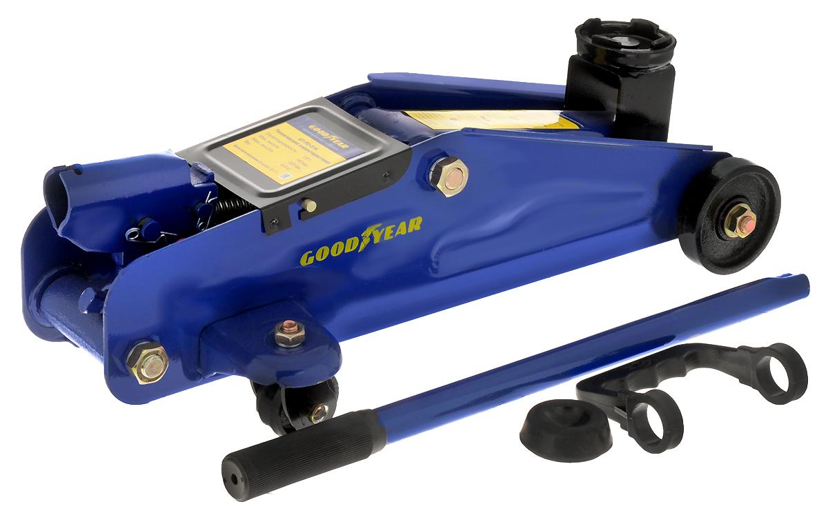 Гидравлический подкатной домкрат Goodyear GY-PD-01K 1,8Т, с резиновой проставкой порога, 320 мм, в кейсе домкрат белак бак 00038 50т