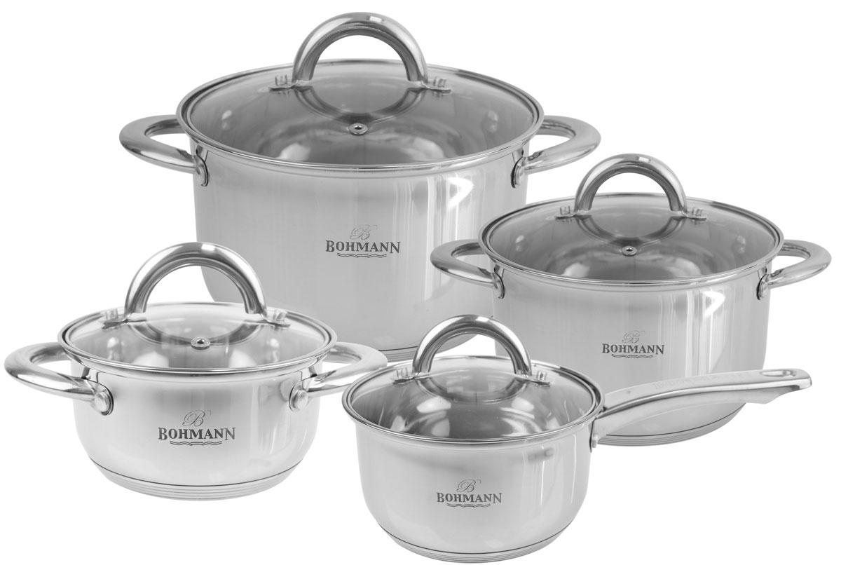 """Набор посуды """"Bohmann"""" состоит из 8 предметов: 3 кастрюли с крышками и ковш с крышкой. Изделия выполнены из нержавеющей стали и стекла. Имеют многослойное капсульное дно с алюминиевым основанием, которое быстро и равномерно накапливает тепло и так же равномерно передает его пище.  Можно мыть в посудомоечной машине.  Подходит для всех типов плит. Объем кастрюль: 2,9 л; 3,8 л; 5 л. Объем ковша: 2 л."""