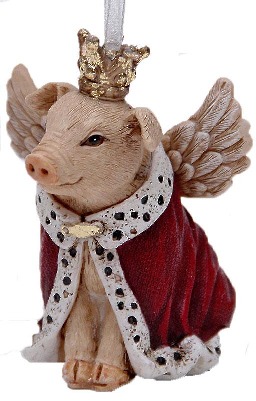 Украшение новогоднее подвесное Феникс-Презент Свинка-королева, 7,5 х 5,5 х 7,5 см41957Новогоднее подвесное украшение Феникс-Презент Свинка-королева выполнено из полирезины в виде свинки в мантии и с короной. С помощью специальной петельки украшение можно повесить в любом понравившемся вам месте. Но, конечно, удачнее всего оно будет смотреться на праздничной елке.Елочная игрушка - символ Нового года. Она несет в себе волшебство и красоту праздника. Создайте в своем доме атмосферу веселья и радости, украшая новогоднюю елку нарядными игрушками, которые будут из года в год накапливать теплоту воспоминаний.