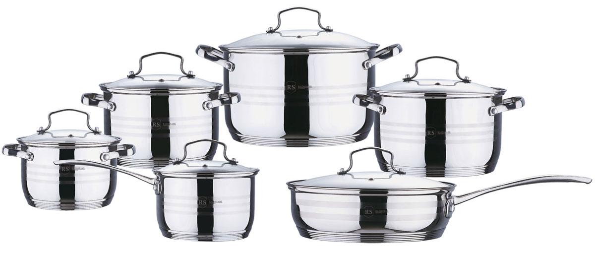 Набор посуды Rainstahl, цвет: стальной, 12 предметов. 1214-12RS\CW1004322Набор посуды Rainstahl состоит из 5 кастрюль с крышками и сотейника с крышкой. Посудавыполнена из высококачественной нержавеющей стали. Внешняя поверхность посуды сзеркальной полировкой. Нержавеющая сталь - это экологически чистый, безопасный дляздоровья материал, который не вступает в реакцию с продуктами и не искажает вкусприготовленных блюд.Изделия снабжены крышками из прозрачного закаленного стекла, а также удобными ручками. Посуда подходит для использования на всех типах плит, включая индукционные. Подходит длямытья в посудомоечной машине.