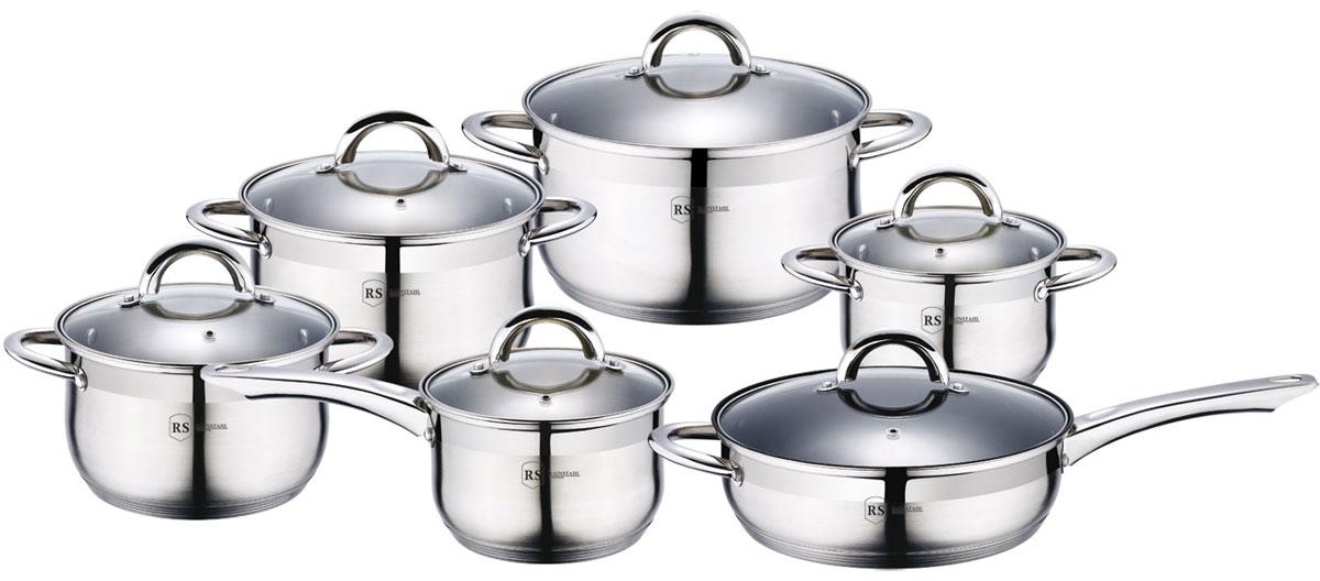 Набор посуды Rainstahl, цвет: стальной, 12 предметов. 1218-12RS\CW1533-ВННабор посуды Rainstahl состоит из 5 кастрюль с крышками и сотейника с крышкой. Посудавыполнена из высококачественной нержавеющей стали. Внешняя поверхность посуды сзеркальной полировкой. Нержавеющая сталь - это экологически чистый, безопасный дляздоровья материал, который не вступает в реакцию с продуктами и не искажает вкусприготовленных блюд.Изделия снабжены крышками из прозрачного закаленного стекла, а также удобными ручками. Посуда подходит для использования на всех типах плит, включая индукционные. Подходит длямытья в посудомоечной машине.