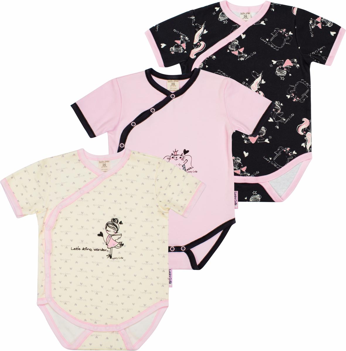Боди детское Lucky Child, цвет: розовый, черный, желтый, 3шт. 30-193/цв. Размер 80/86 боди детское hudson baby hudson baby боди цыплёнок 3 шт бирюзово розовый
