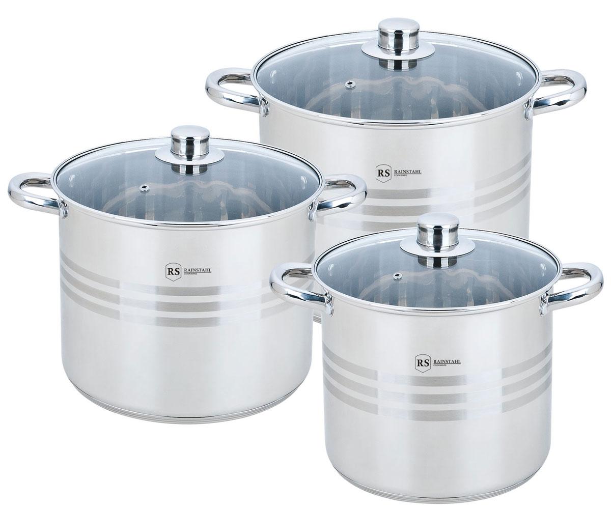 """Набор посуды """"Rainstahl"""" состоит из трех кастрюль с крышками. Предметы набора выполнены из  нержавеющей хромоникелевой стали 18/10. Износостойкость, долговечность и надежность  этого материала, а также первоклассная обработка обеспечивают практически  неограниченный запас прочности. Зеркальная полировка придает посуде стильный и  привлекательный внешний вид.  Изделия имеют многослойное термоаккумулирующее дно с алюминиевым основанием, которое  быстро и равномерно накапливает тепло, и также равномерно передает его пище. Такое дно  позволяет готовить блюда с минимальным количеством воды и жира, сохраняя при этом  вкусовые и питательные свойства продуктов. Применение технологии диффузной сварки  (импакт дно) многослойного дна создает эффект удержания тепла - пища готовится и после  отключения плиты благодаря термоаккумулирующим свойствам посуды. Диаметры изделий  соответствуют общепринятым размерам конфорок бытовых плит.  Изделия оснащены удобными литыми металлическими ручками, которые не нагреваются в  процессе приготовления пищи, а остаются лишь теплыми. Крышки изготовлены из жаростойкого  стекла, оснащены ручками, отверстиями для выпуска пара и металлическим ободом.  Можно использовать на газовых, электрических, галогенных, стеклокерамических,  индукционных плитах. Можно мыть в посудомоечной машине.  Комплектация: кастрюля с крышкой 22 х 19 см. 7,2 л.; кастрюля с крышкой 24 х 20 см. 9 л.;  кастрюля с крышкой 26 х 21 см. 11 л."""