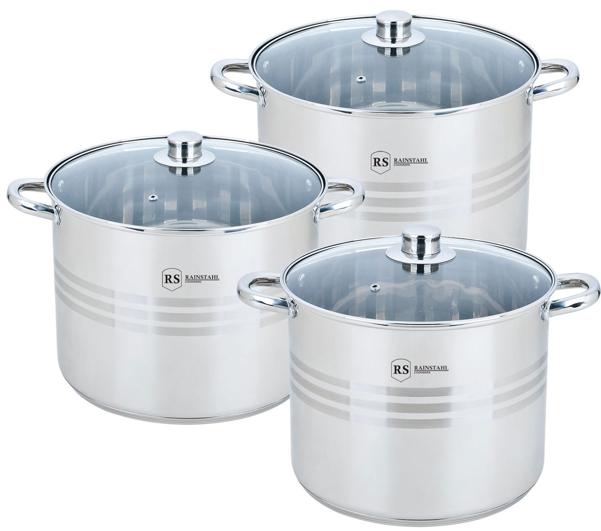 Набор посуды Rainstahl, цвет: стальной, 6 предметов. 2303-06RS/CW BK2303-06RS/CW BKНабор кастрюль Rainstahl прекрасно дополнит интерьер вашей кухни. Набор изготовлен из качественного материала и состоит из 3 кастрюль разного объема с крышками. Набор кастрюль выполнен из высококачественной нержавеющей стали. Каждая модель из набора имеет 3-шаговое термоаккумулирующее капсульное дно. Особенности модели:Кастрюли выполнены из нержавеющей стали, благодаря чему прослужат не один год. Наличие капсульного дна, которое быстро и равномерно накапливает тепло, и также равномерно передает его пище.Подходит для всех видов плит, включая индукцию. При создании набора использовались современные технологии изготовления посуды. Удобные ручки. Комплектация: кастрюля с крышкой 26 х 21 см. 11 л.; кастрюля с крышкой 28 х 22 см. 13,5 л.; кастрюля с крышкой 30 х 23 см. 16,2 л.