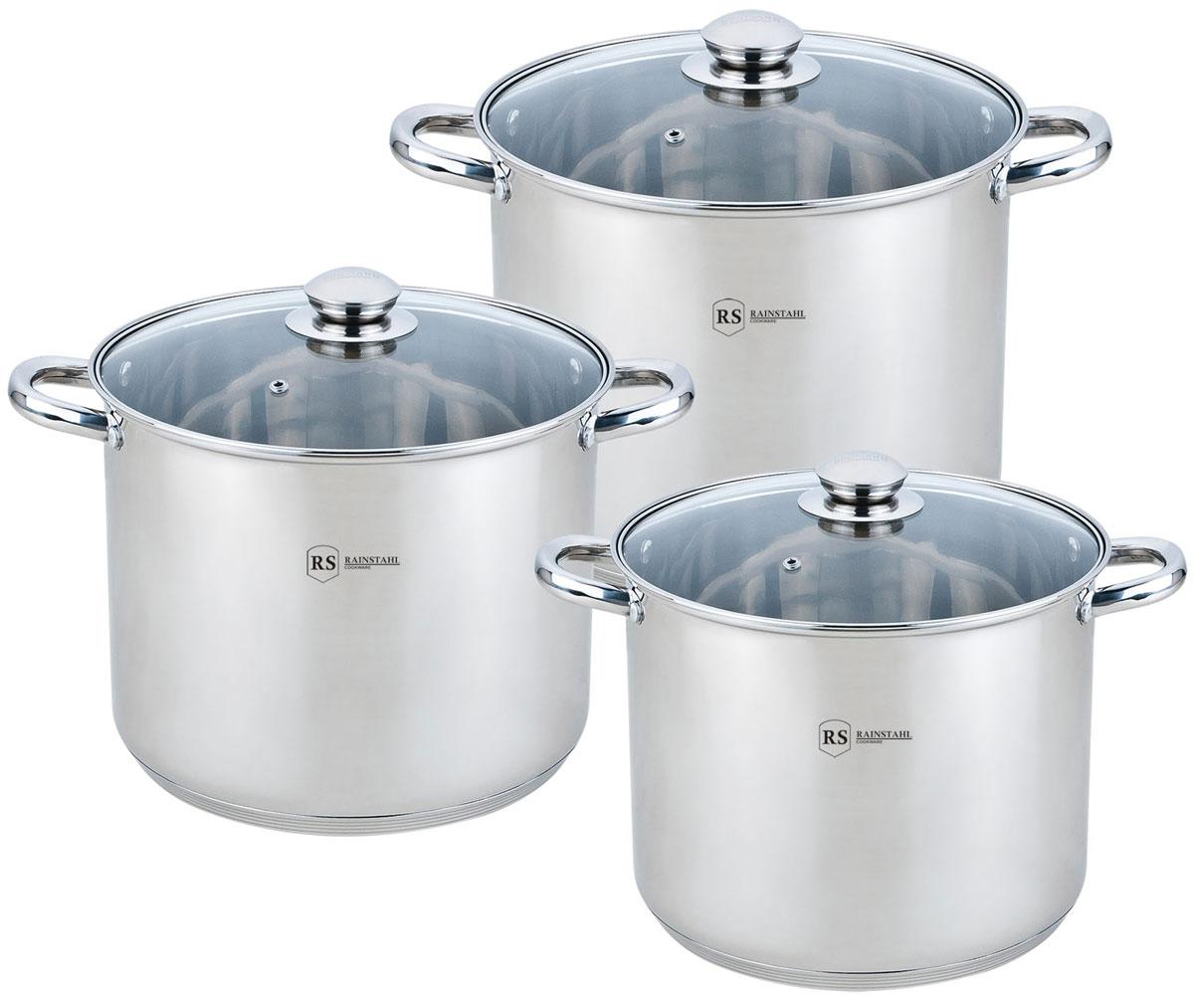 Набор посуды Rainstahl, цвет: стальной, 6 предметов. 2501-06RS/CW BK2501-06RS/CW BKНабор кастрюль из высококачественной нержавеющей стали.5-шаговое термоаккумулирующее капсульное дно, которое быстро и равномерно накапливает тепло и также равномерно передает его пище. Подходит для всех видов плит, включая индукцию. Современные технологии изготовления посуды. Удобные ручки.Состав набора посуды:- кастрюля с крышкой, диаметр 20 см, высота 18 см, объем 5,8 л;- кастрюля с крышкой, диаметр 22 см, высота 19 см, объем 7,4 л;- кастрюля с крышкой, диаметр 24 см, высота 20 см, объем 9,1 л.