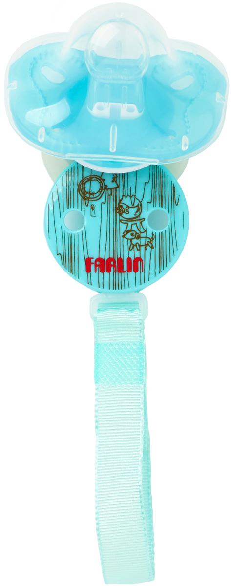 Farlin Пустышка 0-6 месяцев с колпачком + цепочка для пустышки цвет голубой пустышки farlin ортодонтическая силиконовая 6 мес