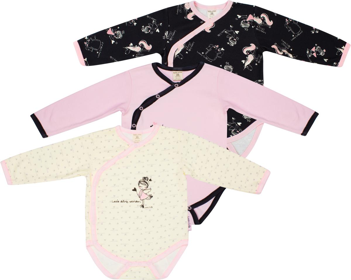 Боди детское Lucky Child, цвет: розовый, черный, желтый, 3шт. 30-192/цв. Размер 80/86 боди детское hudson baby hudson baby боди цыплёнок 3 шт бирюзово розовый