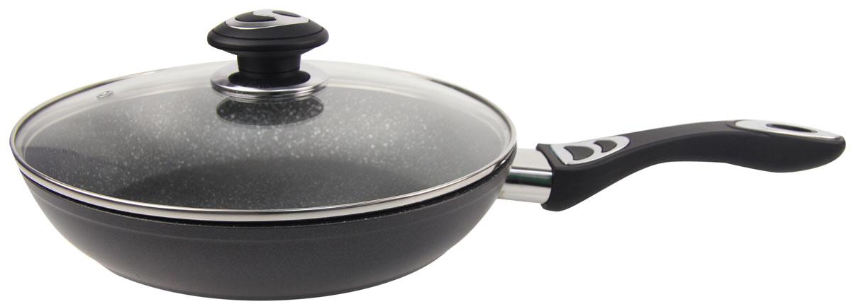 Сковорода Rainstahl, с мраморным покрытием, с крышкой, цвет: черный. Диаметр 20 см. 9512-20RS\FP9512-20RS\FPАлюминиевая сковорода со стеклянной крышкой. Мраморное антипригарное покрытие, можно жарить или обжаривать с небольшим количеством масла. Подходит для всех типов бытовых плит. Легко мыть.