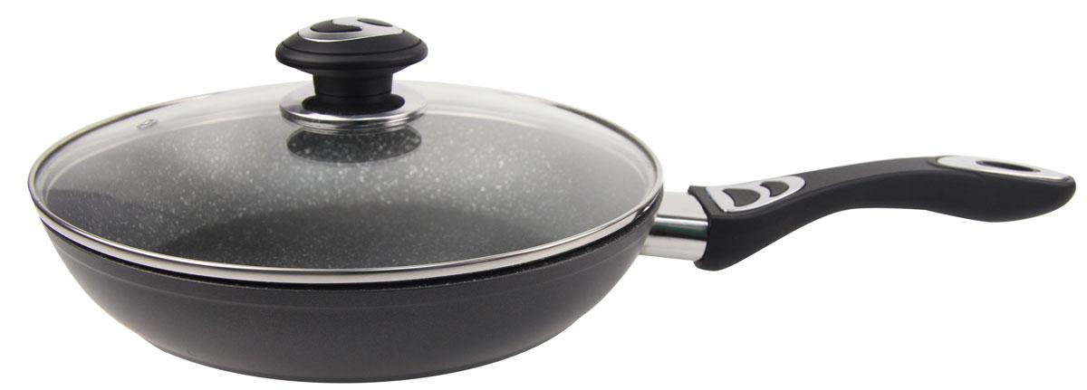 """Сковорода """"Rainstahl"""" выполнена из алюминия, который обладает не только  превосходными теплораспределительными свойствами, но и устойчивостью к  деформации даже при интенсивном использовании.  Толщина дна и высота бортов сковороды оптимальны для различных способов  приготовления. Крышка из жаропрочного. Специальное отверстие для выхода пара позволяет готовить с закрытой  крышкой, предотвращая выкипание. Диаметр сковороды: 22 см."""