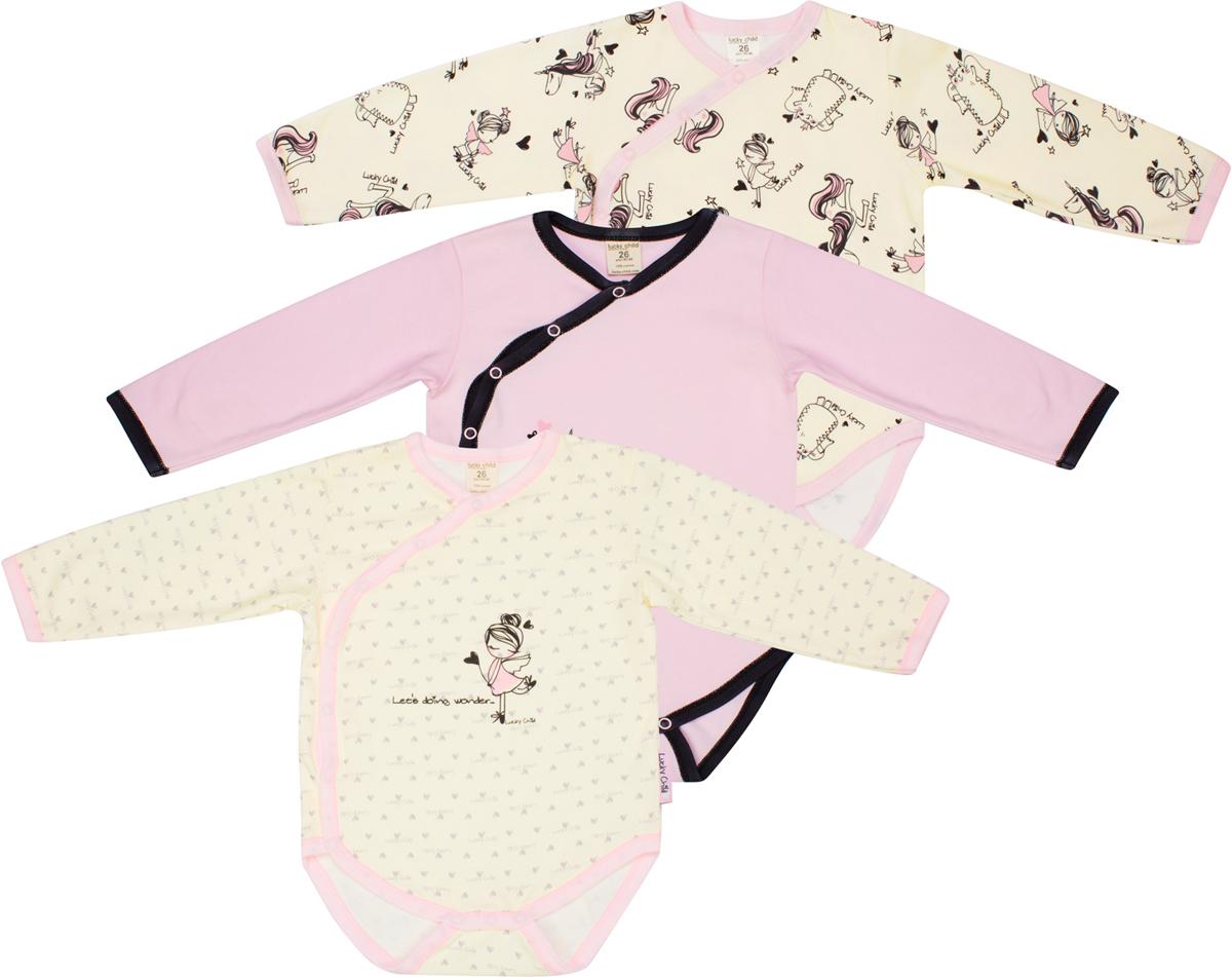 Боди детское Lucky Child, цвет: светло-бежевый, розовый, 3шт. 30-192. Размер 80/86 боди детское hudson baby hudson baby боди цыплёнок 3 шт бирюзово розовый