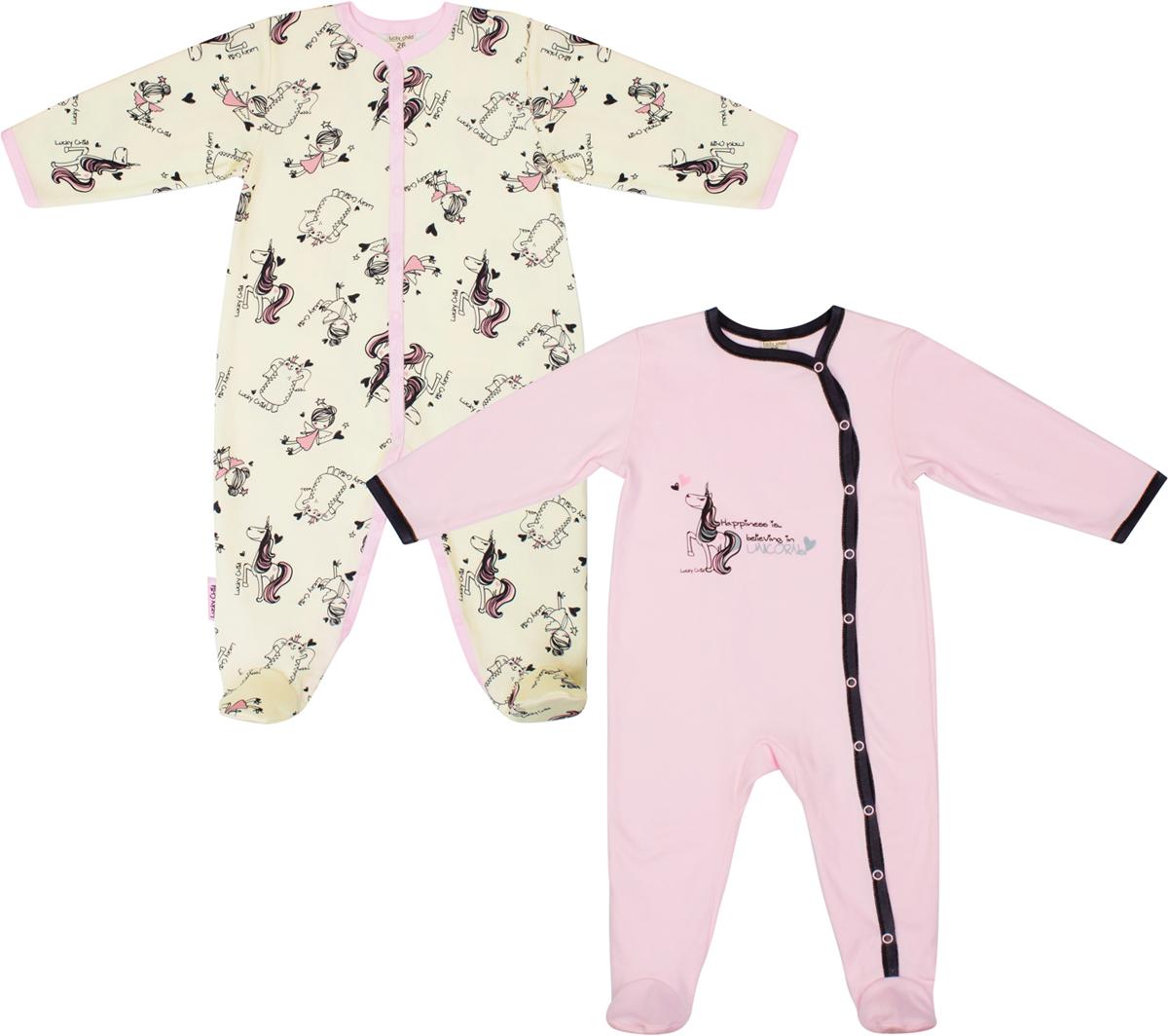 Комбинезон домашний детский Lucky Child, цвет: розовый, бежевый, 2шт. 30-191-1. Размер 80/8630-191-1/2штДетский комбинезон Lucky Child - очень удобный и практичный вид одежды для малышей. Комбинезон выполнен из натурального хлопка, благодаря чему он необычайно мягкий и приятный на ощупь, не раздражают нежную кожу ребенка и хорошо вентилируются, а эластичные швы приятны телу малыша и не препятствуют его движениям. Комбинезон с длинными рукавами и закрытыми ножками имеет застежки-кнопки от горловины до щиколоток, которые помогают легко переодеть младенца или сменить подгузник. В комплект входит два комбинезона разных цветов с принтом.