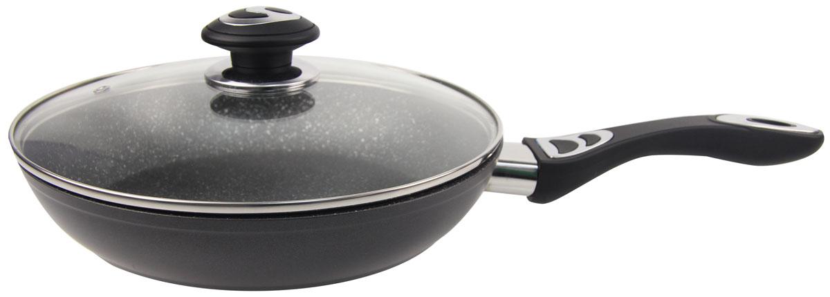 Сковорода Rainstahl, с мраморным покрытием, с крышкой, цвет: черный. Диаметр 28 см. 9512-28RS\FP9512-28RS\FPАлюминиевая сковорода со стеклянной крышкой. Мраморное антипригарное покрытие, можно жарить или обжаривать с небольшим количеством масла. Подходит для всех типов бытовых плит. Легко мыть.