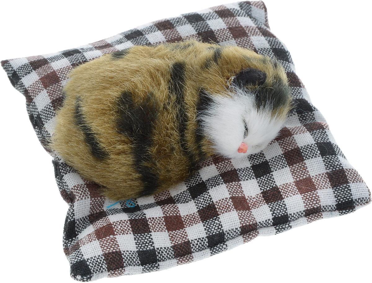 Vebtoy Фигурка Лежачий котенок на коврике цвет коричневый С407