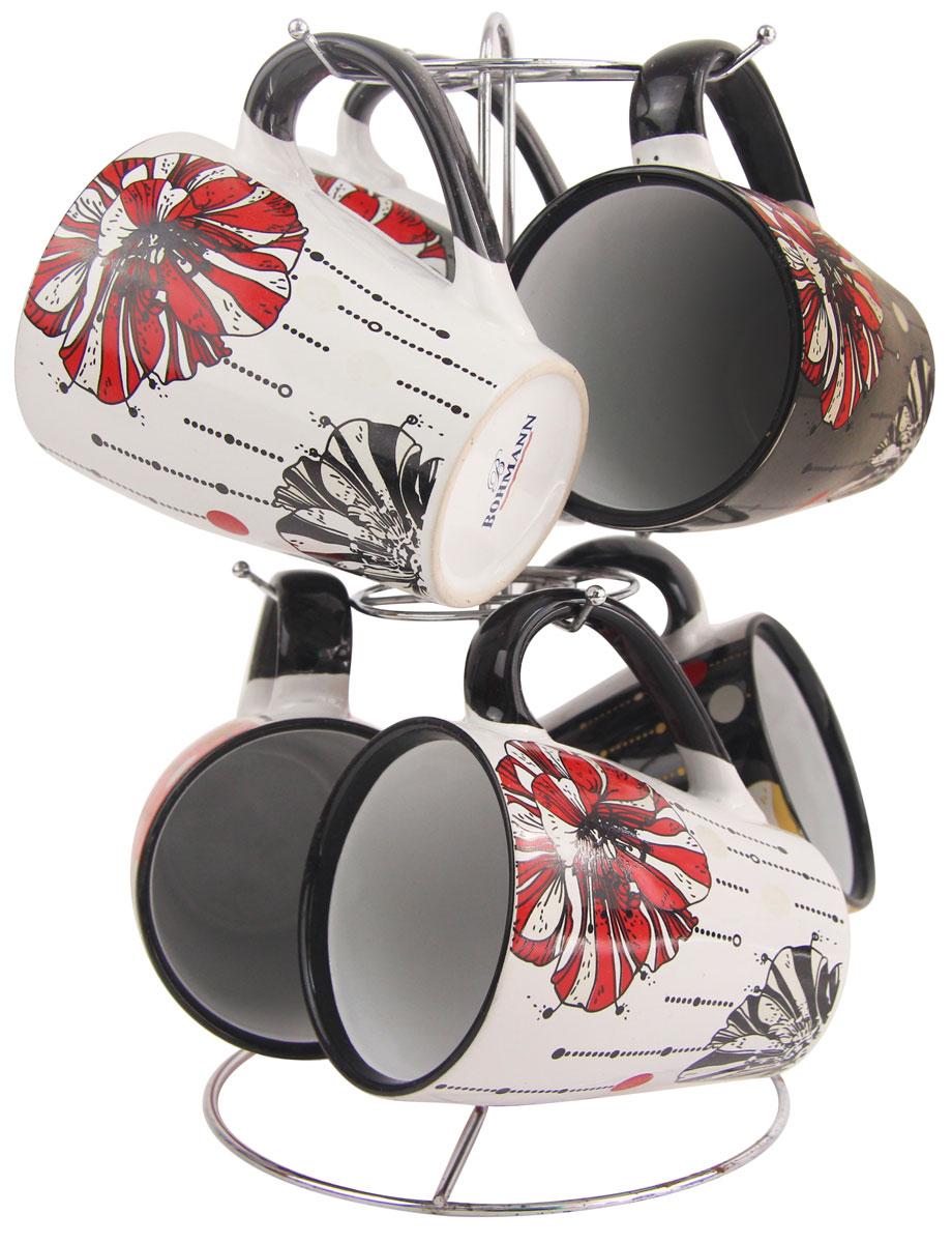 Чайный набор Bohmann, на подставке, цвет: черный, 340 мл, 7 предметов. 362ВНС4570760Чайный набор Bohmann включает в себя 6 кружек и подставку. Кружки имеют разный дизайн, они изготовлены из керамики.6 кружек легко помещаются на хромированной подставку.Объем кружки: 340 мл.