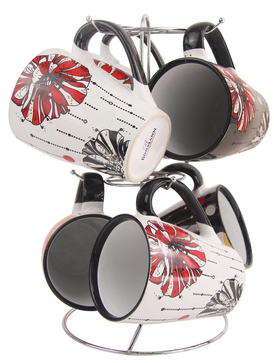 Чайный набор Bohmann, на подставке, цвет: черный, белый, 340 мл, 7 предметов. 364ВНС364ВНСНабор кружек изготовлен из керамики. 6 кружек легко помещаются на хромированной подставку. Все 6 кружек в наборе имеют разный дизайн.