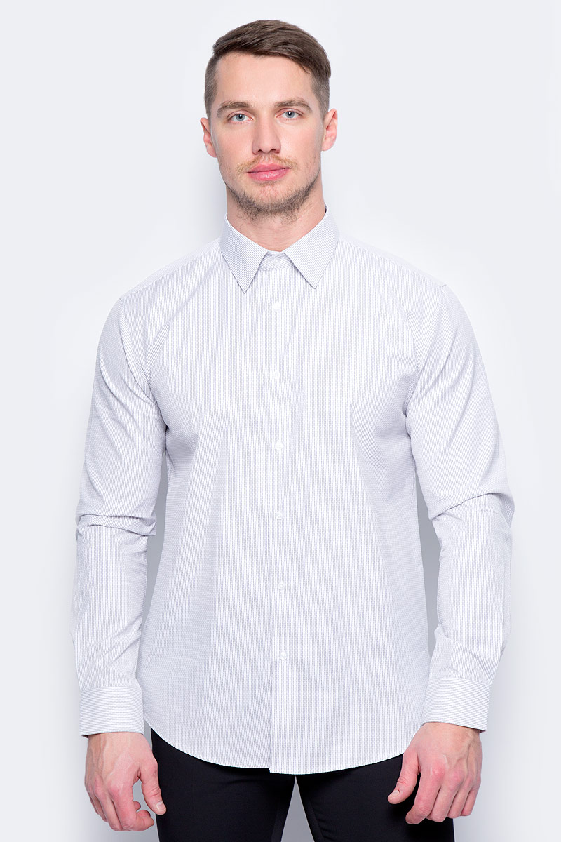 Рубашка муж United Colors of Benetton, цвет: серый, полоска. 5UW35QED8_904. Размер XXL (54/56) рубашка мужская system of hegemony zb zm6085 2015