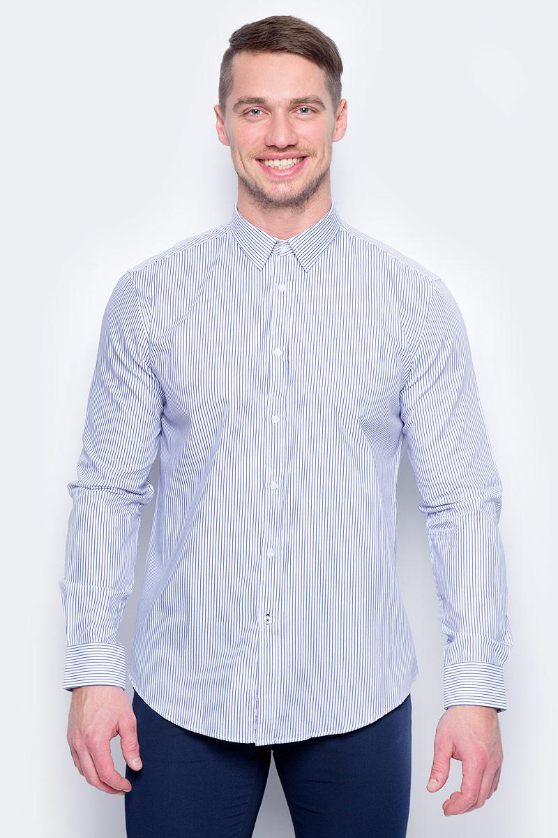 Рубашка муж United Colors of Benetton, цвет: белый, синий, полоска. 5APA5QE78_908. Размер M (48/50) рубашка мужская system of hegemony zb zm6085 2015