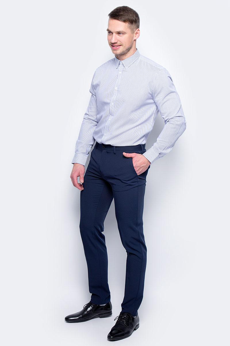 Рубашка мужская United Colors of Benetton, цвет: белый, синий. 5APA5QE78_908. Размер S (46/48)5APA5QE78_908Рубашка мужская United Colors of Benetton выполнена из натурального хлопка. Модель с отложным воротником застегивается на пуговицы.