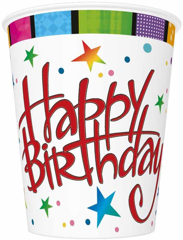 Pol-Mak Стаканы бумажные Happy Birthday 8 шт - Сервировка праздничного стола