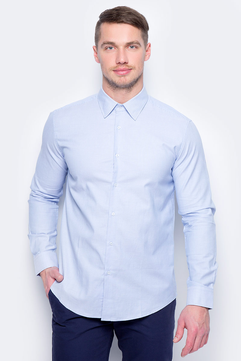 Рубашка муж United Colors of Benetton, цвет: голубой. 5UW35QED8_901. Размер S (46/48) рубашка мужская system of hegemony zb zm6085 2015