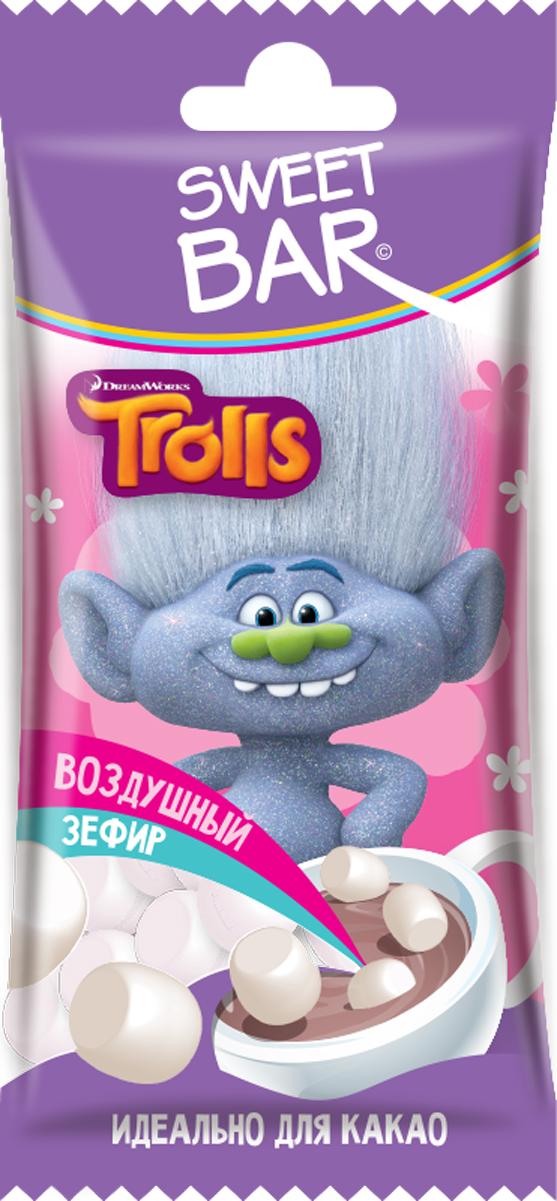 Конфитрейд Trolls зефир для какао, 15 г конфитрейд trolls карамель леденцовая на палочке с пастой со вкусом шоколада 24 шт по 17 г