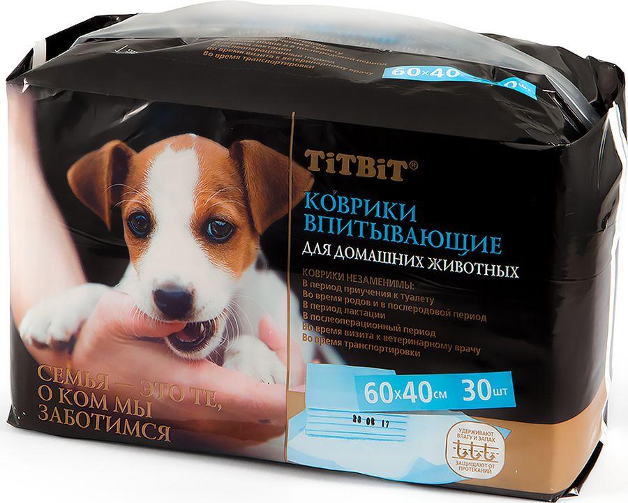 Подстилки для домашних животных  Титбит , впитывающие, 60 х 40 см, 30 шт - Средства для ухода и гигиены