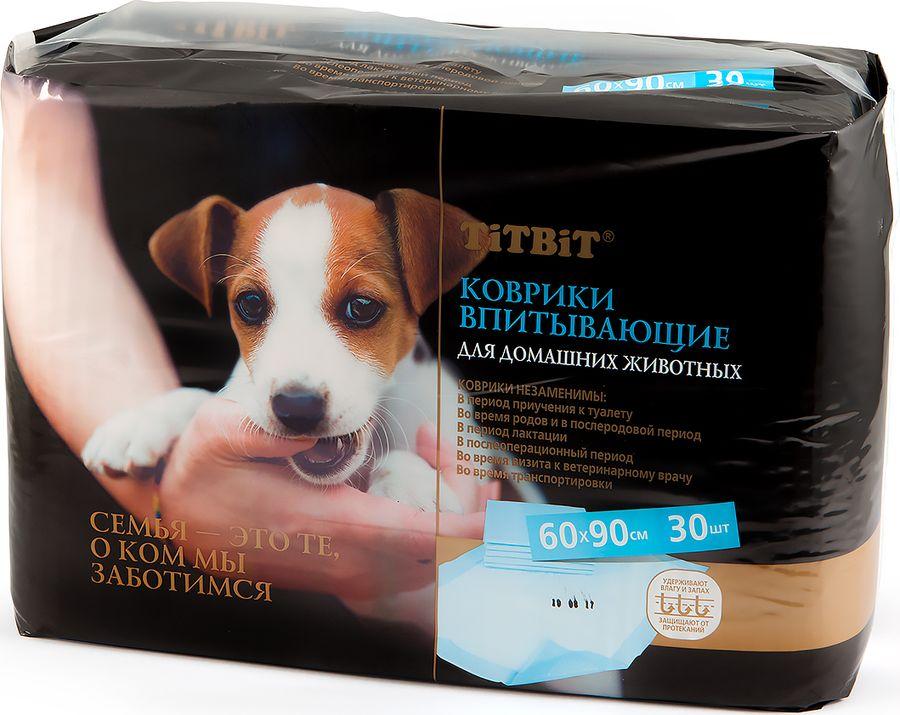 Подстилки впитывающие для домашних животных  Титбит , 60 см х 90 см, 30 шт