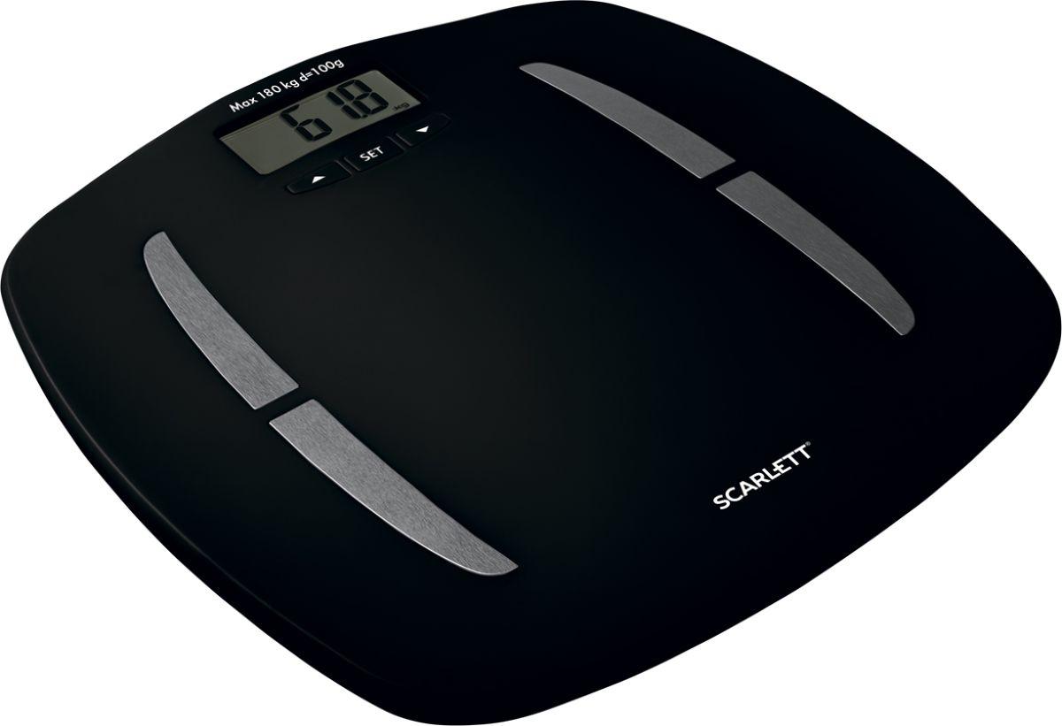 Scarlett SC-BS33ED83, Black напольные весыSC-BS33ED83Напольные весы Scarlett SC-BS33ED83 - простой и удобный способ контролировать свой вес. Весы имеют высокочувствительные датчики. С помощью Scarlett SC-BS33ED83 можно не только измерить вес, но и определить процент жира, воды, мышц и костной массы. Весы обладают встроенной функцией памяти на 12 человек. Корпус изготовлен из высокопрочного пластика. На нижней части прибора расположены прорезиненные ножки для предотвращения скольжения. Весы имеют функцию автоматического отключения, индикаторы перегрузки и низкого заряда батареек. Работают от 2 батареек типа ААА. Максимальный вес: 180 кг.