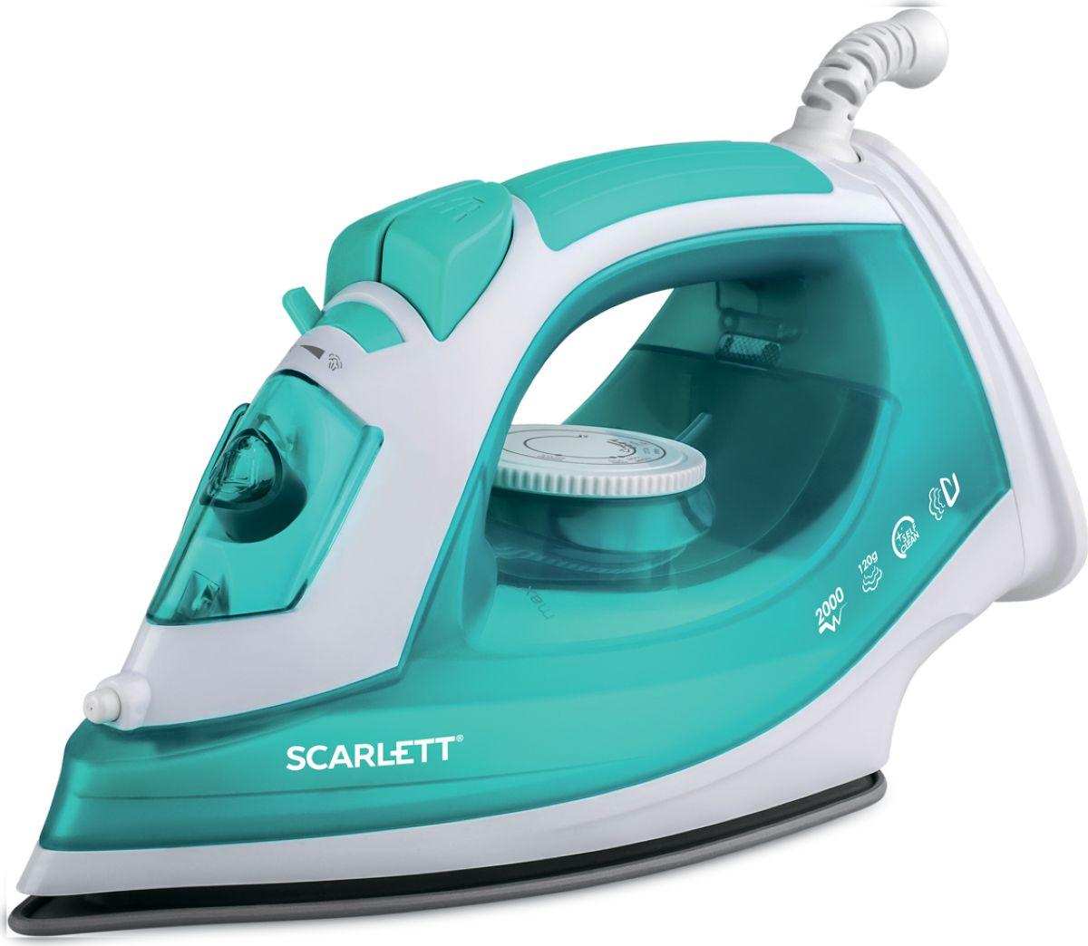 Scarlett SC-SI30P09, Turquoise утюгSC-SI30P09Утюг Scarlett SC-SI30P09 приятно порадует легким скольжением и увеличенным количеством паровых отверстий.Это позволяет быстро и максимально аккуратно проглаживать различные виды ткани.Данная модель имеет плавную регулировку, позволяющую эффективно справляться с деликатной одеждой.Предусматривается вместительный резервуар для воды на 180 мл.Подошва SimplePro - полимерное антипригарное покрытие, паровая подушка при глажении для дополнительнойзащиты белья.