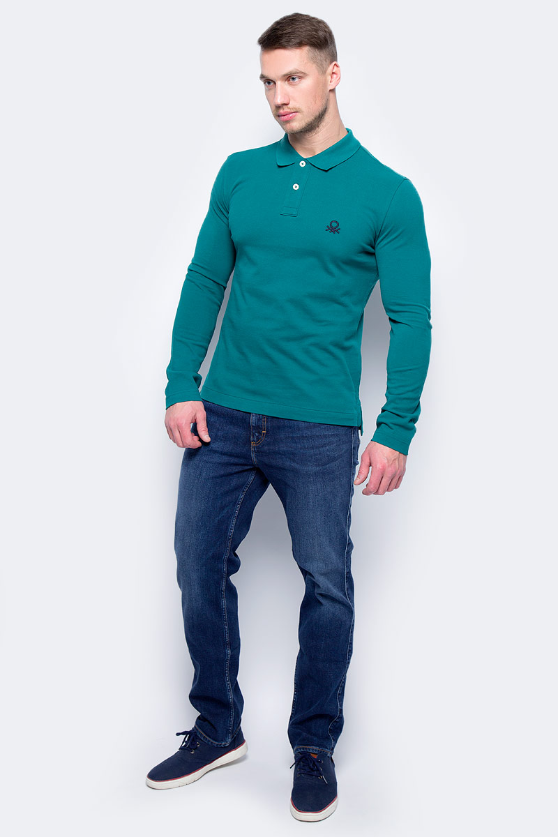 Поло муж United Colors of Benetton, цвет: зеленый. 3YY8J3077_28Y. Размер S (46/48)3YY8J3077_28Y