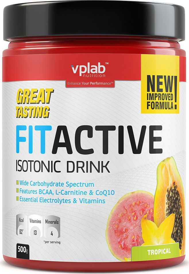 """Изотоник Vplab """"FitActive"""", тропические фрукты, 500 г, VP Laboratory"""