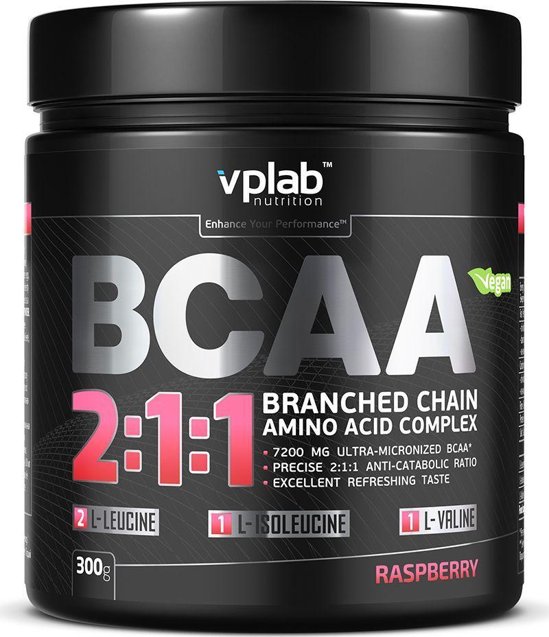 Аминокислотный комплекс Vplab BCAA 2:1:1, малина, 300 г ultra womens витамины vplab инструкция
