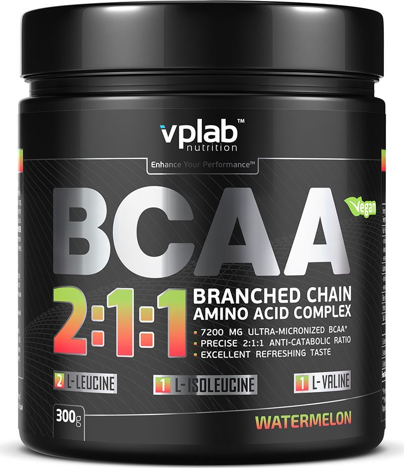 Аминокислотный комплекс Vplab BCAA 2:1:1, арбуз, 300 г аминокислоты geneticlab аминокислоты bcaa pro груша 500 гр